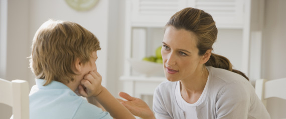 Mother having discussion with son